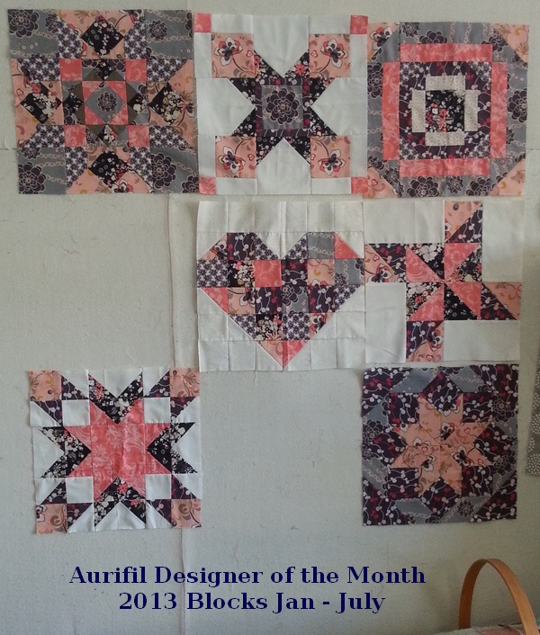 2013 Aurifil blocks Jan through July