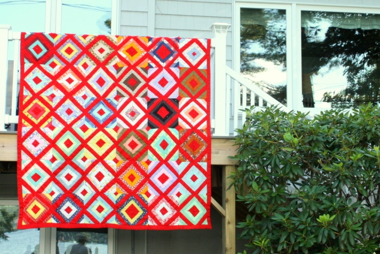 Red 1970s Lattice Quilt-001