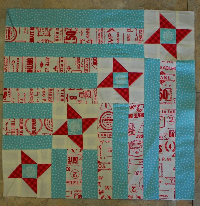 Aurifil Sept 2014 block by Pat W