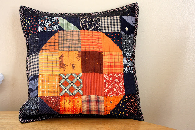 halloween pumpkin patchwork pillow