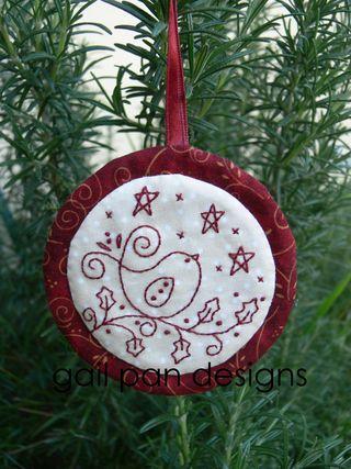 embroidery bird ornament
