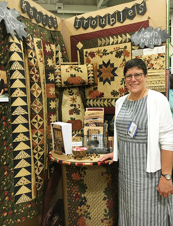 Lynne's Spring Market 2016 booth -- notice the creative use of Aurifil spools!