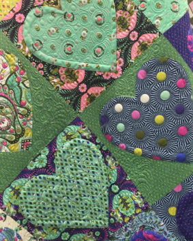 Closeup of the Hearts Quilt