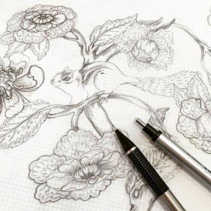 Tula's original #TulaPinkChipper pencil drawing!