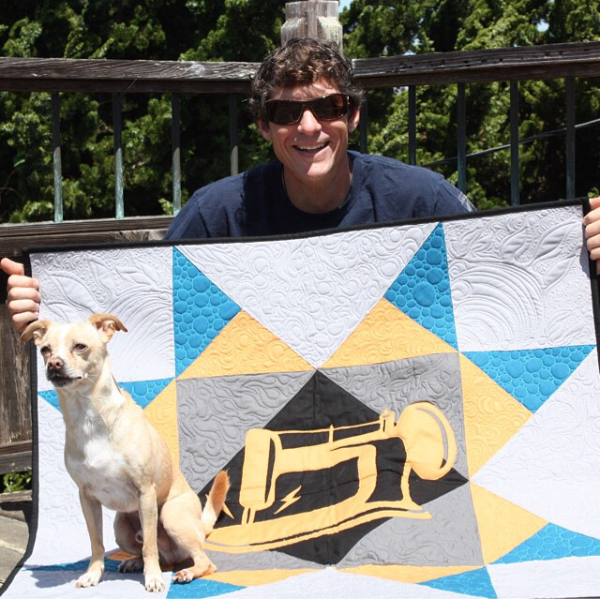 Rob's Man Sewing + Missouri Star Quilt, along with his dog, Winston
