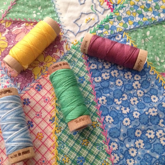 Crazy Quilt with Fabric & Thread from the Vintage 30s - Ruby's Treasures collections