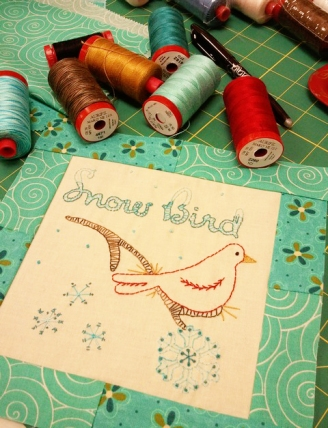 Snow Bird with Aurifil 12wt