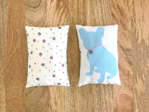 Frenchie Pillow screen printed by Karen Lewis of Karen Lewis Textiles