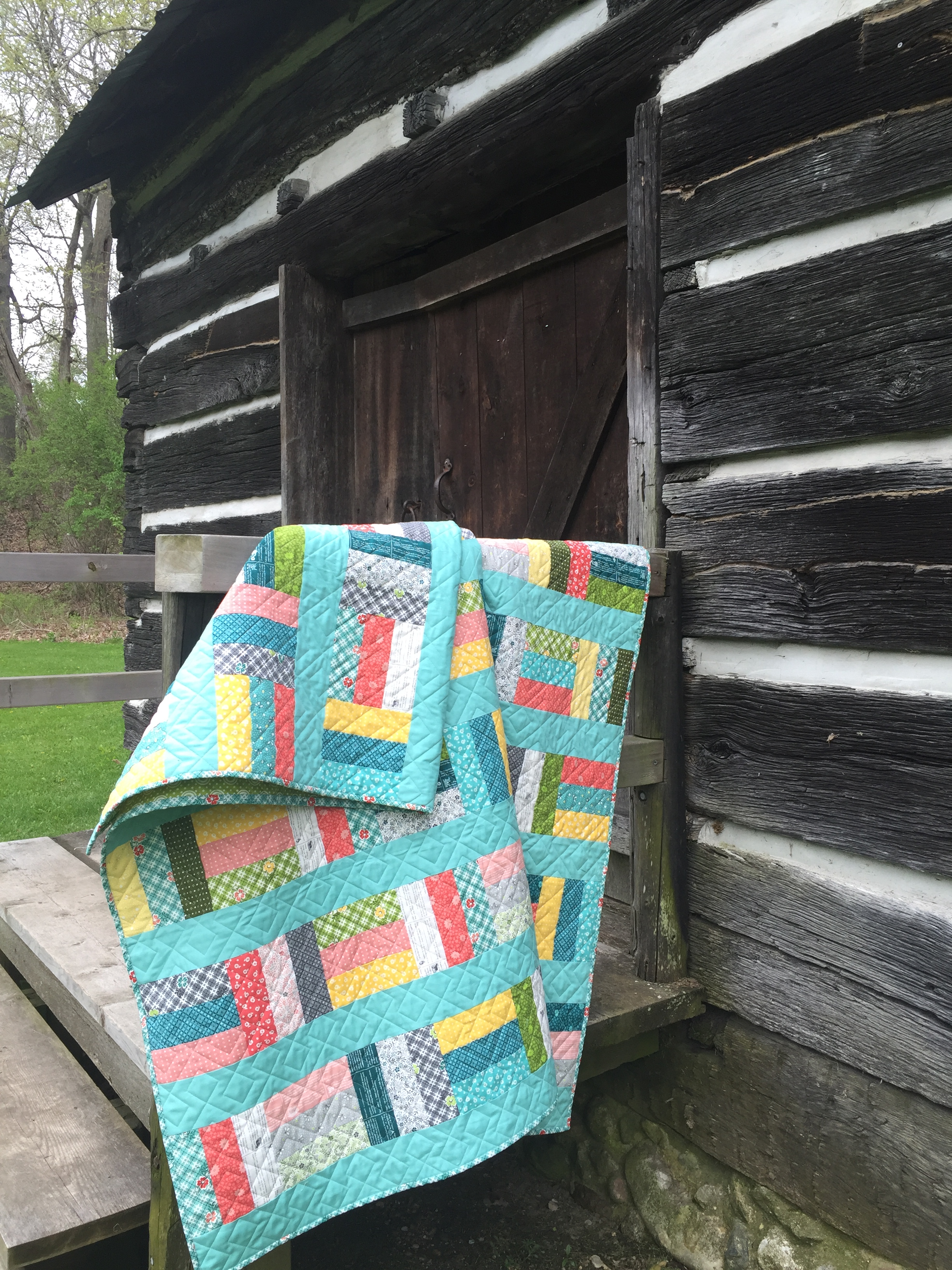 My Sunset Strips quilt pattern with One Room Schoolhouse.JPG