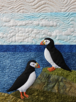Detail of Three Puffy Puffins by Sheena Norquay