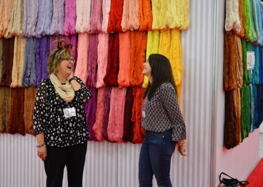 Pat with fellow Aurifil Designer Sarah Maxwell at Aurifil's booth at Quilt Market