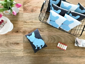 French Bulldog Pillows were screen-printed by Karen Lewis of Karen Lewis Designs on Riley Blake Designs Linen.