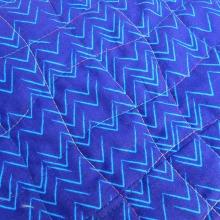 Thread detail on blue