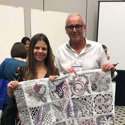 Alfonsina Uriburu with Alex Veronelli at our 2017 Houston Quilt Market Launch