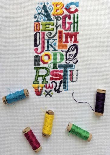 Bright Alphabet pattern by Emma Congdon of Stitchrovia