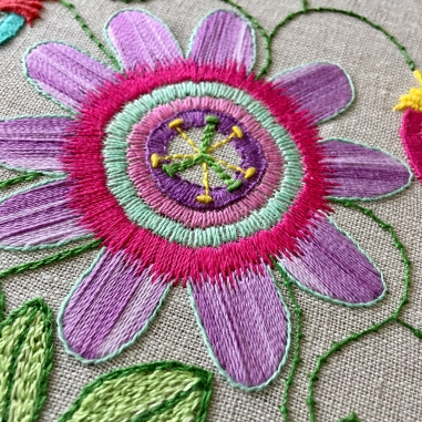 Passionflower Embroidery by Jo Avery, click here for more info