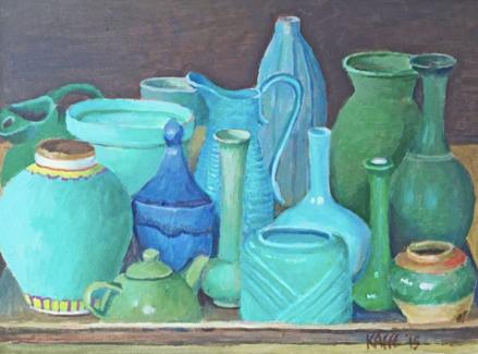 Grey Green Pots, painted by Kaffe, 18″ by 24″ - @kaffefassettstudio