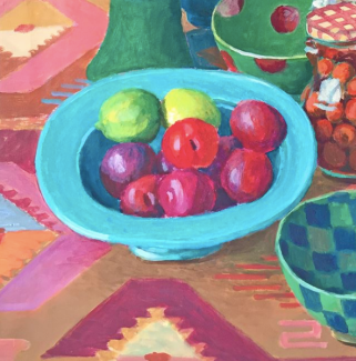 Detail of Kaffe's 'Dark Pots Plums and Cherries' painting - 30″ by 20″ - @kaffefassettstudio