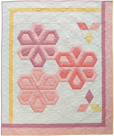Apple Blossom Time, 61 ̋ × 72-1/2 ̋, designed and pieced by Sheila Christensen, quilted by Sue Burnett and Sheila Christensen