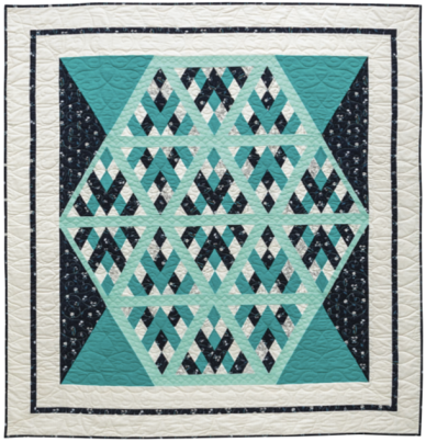 Bejewelled, 71-1/2 ̋ × 76-1/2 ̋, designed and pieced by Sheila Christensen, quilted by Sue Burnett