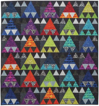 Caravan, 70 ̋ × 72-1/2 ̋, designed and pieced by Sheila Christensen, quilted by Sue Burnett