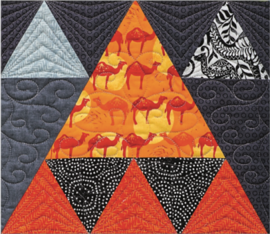 Detail of Caravan, designed and pieced by Sheila Christensen, quilted by Sue Burnett