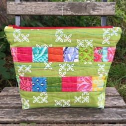 Scrappy Panel Machine Quilted Pouch by Jo Avery